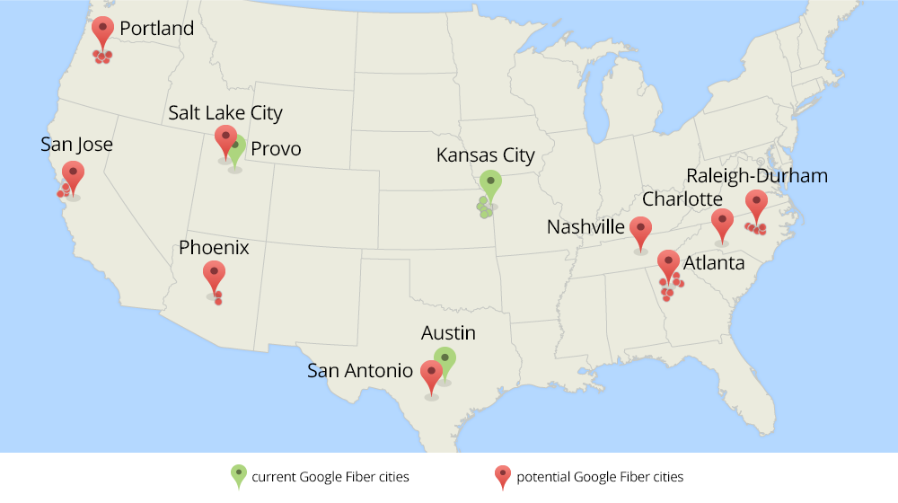Current and potential Google Fiber cities
